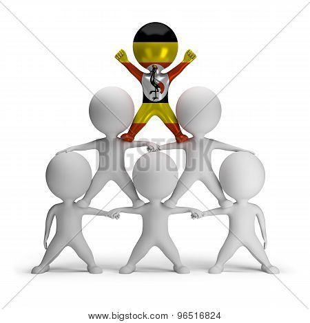 3d small people standing on each other in the form of a pyramid with the top leader Uganda