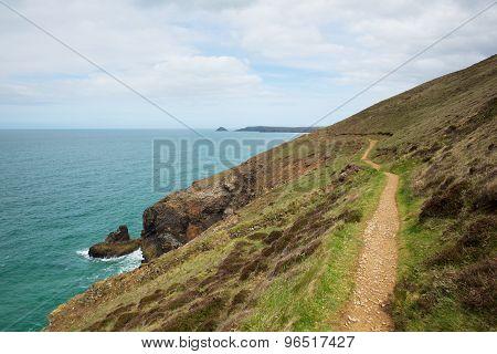 Coast Path south of Perranporth North Cornwall England UK