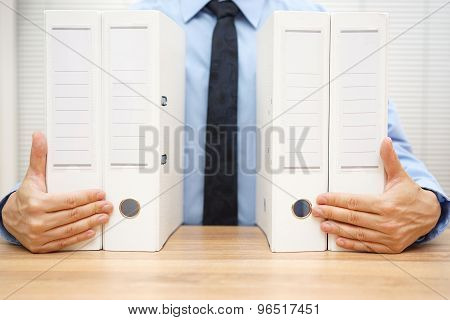 Businessman Holding Company Documentation, Accounting Concept