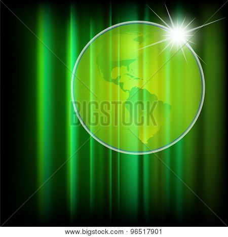 Green abstract background with globe