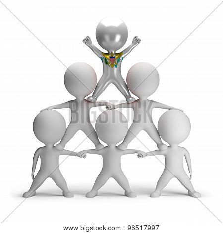 3d small people standing on each other in the form of a pyramid with the top leader US Virgin
