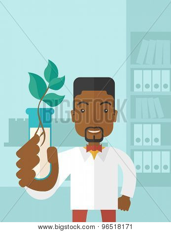 A black guy chemist holding a test tube with eco leaves. A Contemporary style with pastel palette, soft blue tinted background. Vector flat design illustration. Vertical layout with text space on top