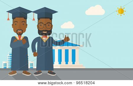 A happy two black young men wearing a toga and graduation cap standing under the sun. A Contemporary style with pastel palette, soft blue tinted background with desaturated clouds. Vector flat design