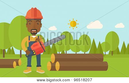 A black Lumberjack with hard hat as protection cuts a tree by chainsaw under the heat of the sun. A Contemporary style with pastel palette, soft blue tinted background with desaturated clouds. Vector