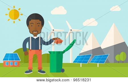 A black man throwing a crumpled paper in a green garbage bin. A Contemporary style with pastel palette, soft blue tinted background with desaturated clouds. Vector flat design illustration. Horizontal