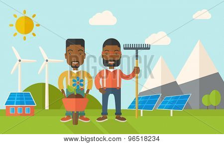 A two black smiling gardener carries a plant in wheelbarrow and holding a rake. A Contemporary style with pastel palette, soft blue tinted background with desaturated clouds. Vector flat design
