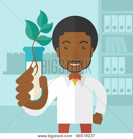 A black guy chemist holding a test tube with eco leaves. A Contemporary style with pastel palette, soft blue tinted background. Vector flat design illustration. Square layout.