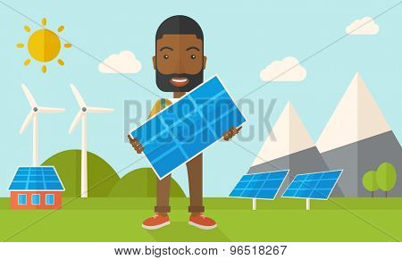 A happy african young man standing while holding a solar panel under the heat of the sun. A Contemporary style with pastel palette, soft blue tinted background with desaturated clouds. Vector flat