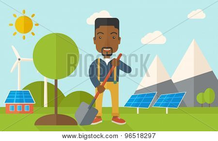 A happy african gardener planting a tree using in his yard using shovel under the heat of the sun. A Contemporary style with pastel palette, soft blue tinted background with desaturated clouds. Vector