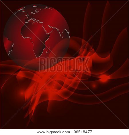 Red abstract background with globe