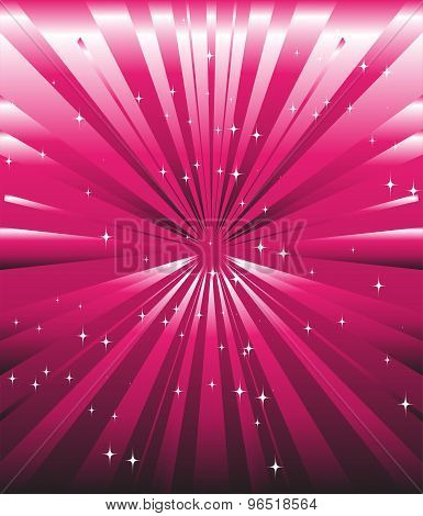 Sparkling stars on pink magenta ray background