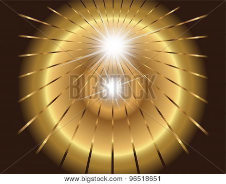 Two star burst, ray with lens flare golden