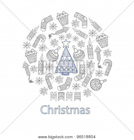 Christmas Sketch Icons Isolation In A Circle Vector Design Illustration.