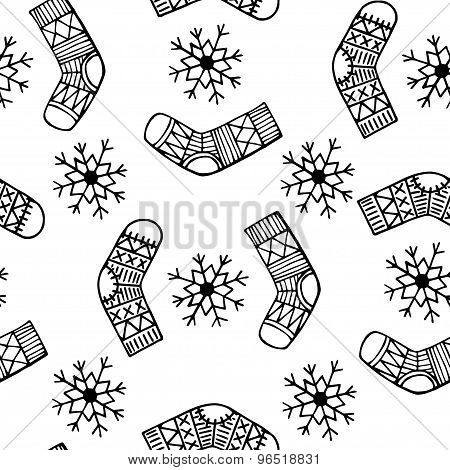 Christmas Sock And Snowflake Vector Seamless Pattern