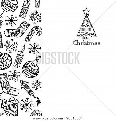 Christmas Sketch Icons Isolation Vertical Banner Vector Design Illustration.