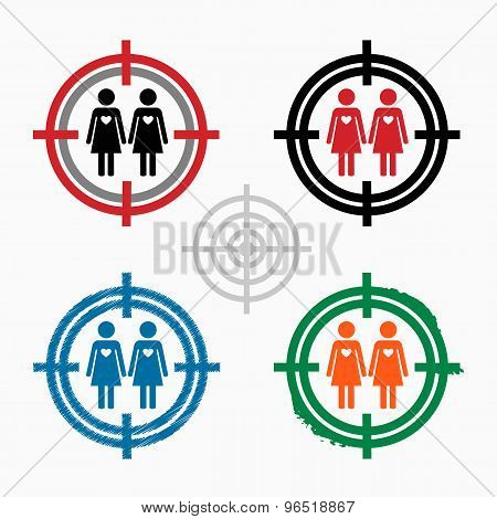 Lesbian Icon On Target Icons Background