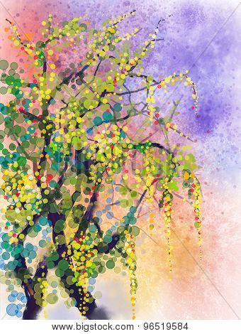 Spring Nature Season Watercolor Painting