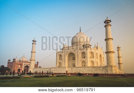 View of Taj Mahal towards South side. Post-processed with grain, texture and colour effect.