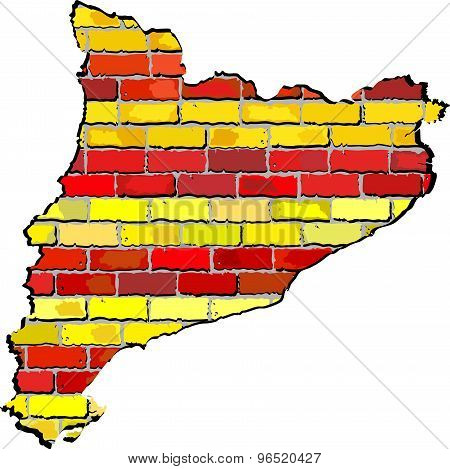 Catalonia Map On A Brick Wall