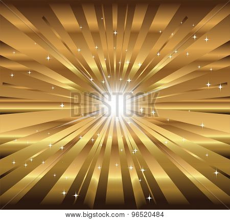 Abstract star, ray with lens flare golden background