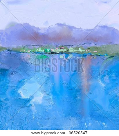 Abstract Colorful Oil Painting Landscape