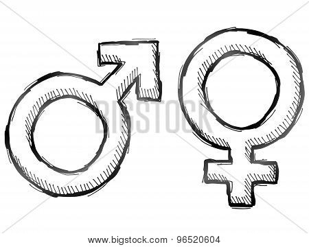 Hand Drawn Gender Symbols