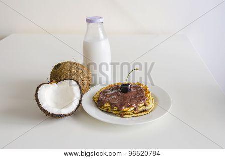 Cherry Coconut Pancakes