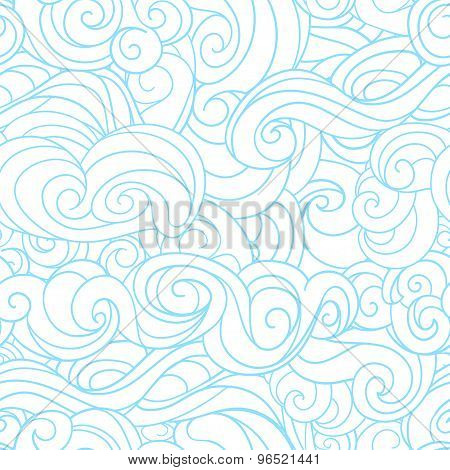 Winter christmas seamless pattern vector background Blue waving curls similar to winter frosty windo