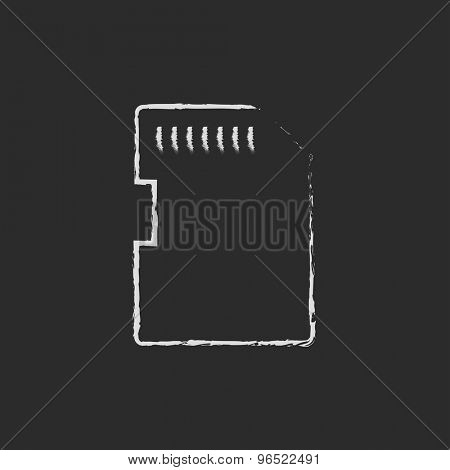 Memory card hand drawn in chalk on a blackboard vector white icon on a black background