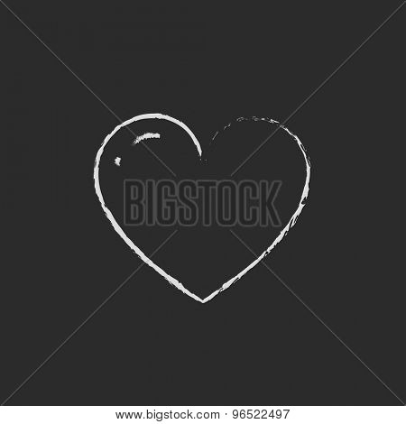 Heart hand drawn in chalk on a blackboard vector white icon on a black background