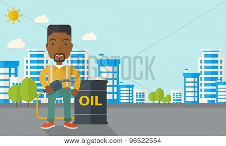 An african businessman standing beside the oil can with pump infront of the buildings. A Contemporary style with pastel palette, soft blue tinted background with desaturated clouds. Vector flat design