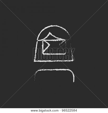 Girl wearing virtual relaity headset hand drawn in chalk on a blackboard vector white icon on a black background