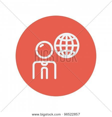 Businessman with global thin line icon for web and mobile minimalistic flat design. Vector white icon inside the red circle.