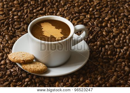 Still Life - Coffee With Map Of Serbia