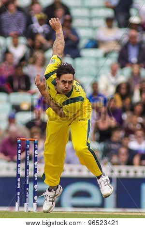 LONDON, ENGLAND - June 17 2013: Australia's Mitchell Johnson bowling during the ICC Champions Trophy international cricket match between Sri Lanka and Australia.