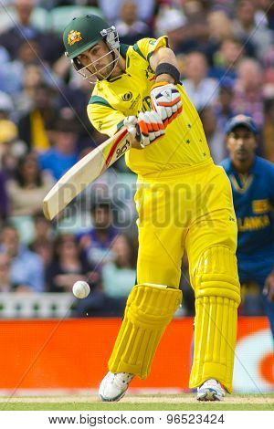 LONDON, ENGLAND - June 17 2013:Australia's Glenn Maxwell batting during the ICC Champions Trophy international cricket match between Sri Lanka and Australia.