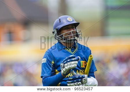 LONDON, ENGLAND - June 17 2013: Sri Lanka's Tillakaratne Dilshan walks off after being dismissed during the ICC Champions Trophy international cricket match between Sri Lanka and Australia.