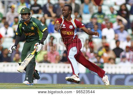 LONDON, ENGLAND - June 07 2013: West Indies Kemar Roach during the ICC Champions Trophy cricket match between Pakistan and The West Indies at The Oval Cricket Ground.