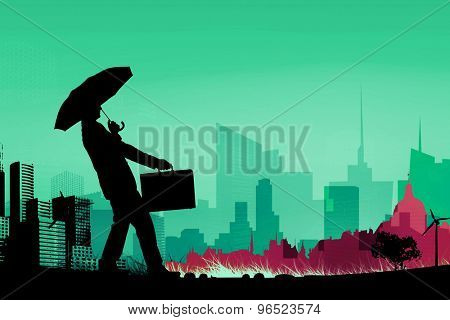 Businessman silhouette against cityscape stencil design
