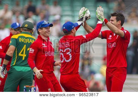 LONDON, ENGLAND - June 19 2013: James Anderson appeals for the wicket of Colin Ingramduring the ICC Champions Trophy semi final match between England and South Africa at The Oval Cricket Ground