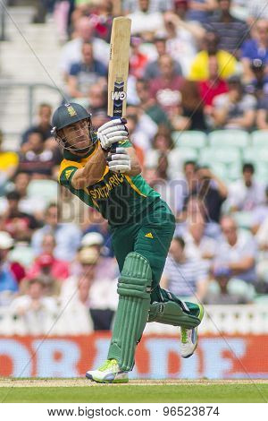 LONDON, ENGLAND - June 19 2013: South Africa's Jean-Paul Duminy batting during the ICC Champions Trophy semi final match between England and South Africa at The Oval Cricket Ground