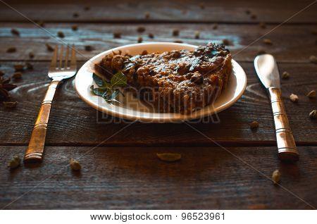 Piece Of Vegetarian Nut Pie