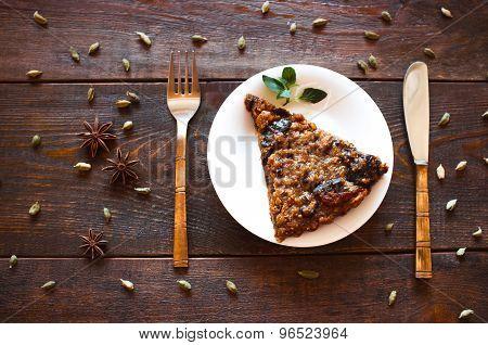 Portion Of Vegetarian Nut Pie