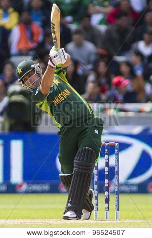 EDGBASTON, ENGLAND - June 15 2013: Pakistan's Kamran Akmal batting during the ICC Champions Trophy cricket match between India and Pakistan at Edgbaston Cricket Ground.