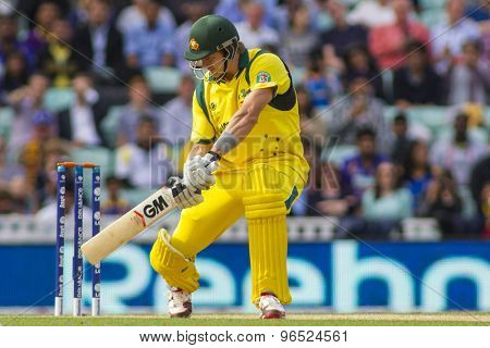 LONDON, ENGLAND - June 17 2013: Australia's Shane Watson batting during the ICC Champions Trophy international cricket match between Sri Lanka and Australia.