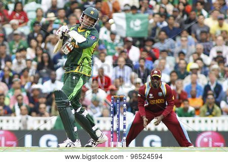 LONDON, ENGLAND - June 07 2013: Pakistan's Mohammad Irfan avoids a bouncer during the ICC Champions Trophy cricket match between Pakistan and The West Indies at The Oval Cricket Ground.