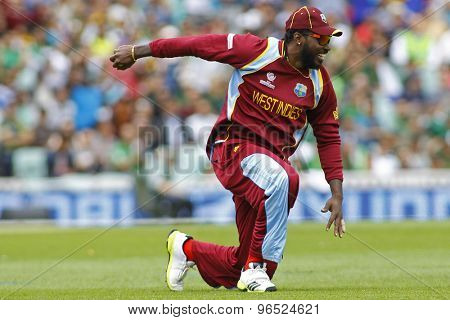 LONDON, ENGLAND - June 07 2013: West Indies Chris Gayle during the ICC Champions Trophy cricket match between Pakistan and The West Indies at The Oval Cricket Ground.