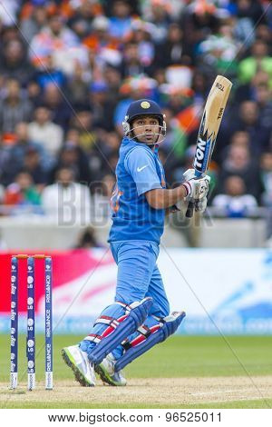 EDGBASTON, ENGLAND - June 15 2013: India's Rohit Sharma batting during the ICC Champions Trophy cricket match between India and Pakistan at Edgbaston Cricket Ground.
