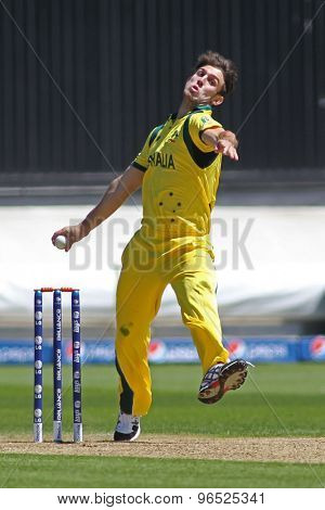 CARDIFF, WALES - June 04 2013:  Australia's Mitchell Marsh bowling during the ICC Champions Trophy warm up match between India and Australia at the Cardiff Wales Stadium