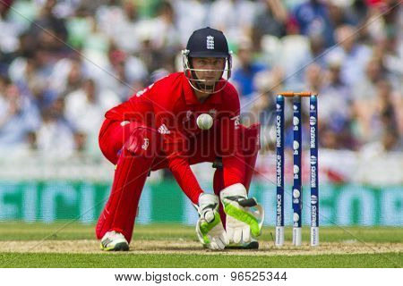 LONDON, ENGLAND - June 19 2013: England's Jos Buttler during the ICC Champions Trophy semi final match between England and South Africa at The Oval Cricket Ground